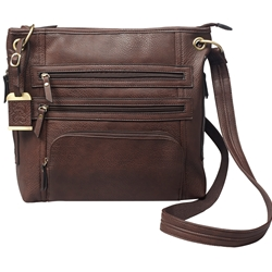 Bulldog Large Cross Body Purse w/ Holster - Brown